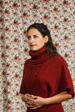 Woman in red over floral background. Woman in red over colorful floral background Royalty Free Stock Photos