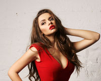 Woman in red overall Stock Photos