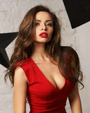 Woman in red overall Royalty Free Stock Image