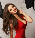 Woman in red overall Royalty Free Stock Photos