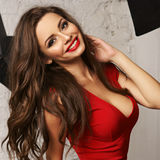 Woman in red overall Royalty Free Stock Images