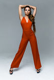 Woman in red overalls Royalty Free Stock Photo