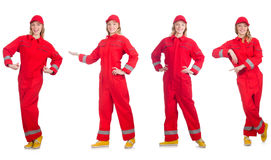 The woman in red overalls isolated on white Stock Photo