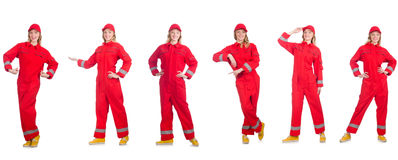 Woman in red overalls isolated on white Stock Images