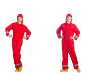 Woman in red overalls isolated on white Royalty Free Stock Photo