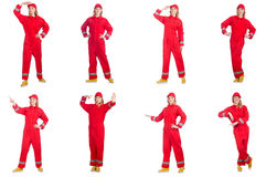 Woman in red overalls isolated on white Royalty Free Stock Images