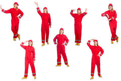 The woman in red overalls isolated on white Stock Photos
