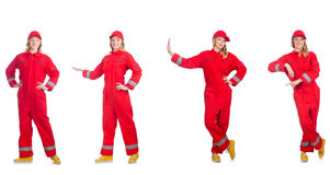 The woman in red overalls isolated on white Stock Image