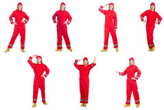 The woman in red overalls. Woman in red overalls isolated on white Stock Photography