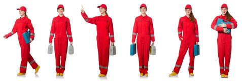 The woman in red overalls isolated on white. Woman in red overalls isolated on white Royalty Free Stock Images