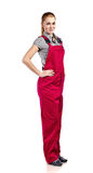 Woman in red overalls , isolated on white Royalty Free Stock Photos