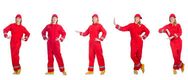 The woman in red overalls  on white Stock Images