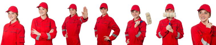 The woman in red overalls  on white Royalty Free Stock Photo