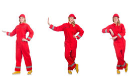 The woman in red overalls on white Stock Photography
