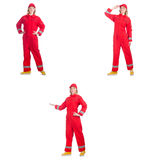The woman in red overalls on white Royalty Free Stock Image