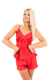 Woman in red pajamas Royalty Free Stock Photos
