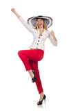 Woman in red pants and hat isolated on white Royalty Free Stock Image