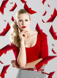 Woman with red paper boats Stock Photo