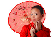 Woman with red parasol. Beautiful woman in red autumnal cloak with parasol Royalty Free Stock Photos