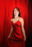 Woman in red party dress Royalty Free Stock Photos