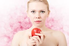 Woman with red pepper Royalty Free Stock Photos