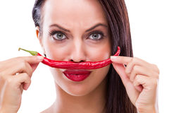 Woman and red pepper Royalty Free Stock Photography