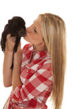 Woman Red Plaid Pig Kiss Stock Image