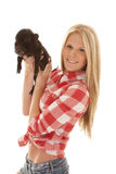 Woman red plaid pig out Royalty Free Stock Photography
