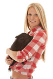 Woman red plaid pig smile Stock Photography