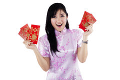 Woman with red pocket gift Stock Photos
