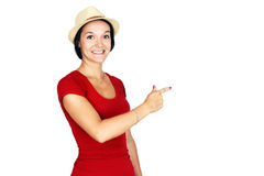 Woman in red pointing Royalty Free Stock Photography