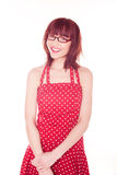Woman In Red Polka Dot Dress Royalty Free Stock Photos