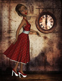 Woman in red polka dot dress. Woman in a red polka dot dress on clock background royalty free illustration