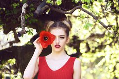 Woman with red poppy seed royalty free stock photography