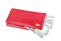 Woman red purse with dollars Stock Photo