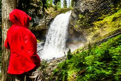Moul Falls in Wells Gray Provincial Park, British Columbia, Canada Royalty Free Stock Images