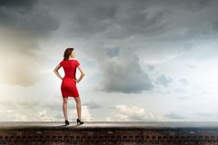 Woman in red Stock Images
