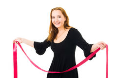 Woman with red ribbon laughing Stock Image