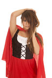 Woman red riding hood hands hair Royalty Free Stock Image