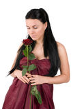 Woman with a red rose Royalty Free Stock Photos