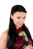 Woman with a red rose Royalty Free Stock Images