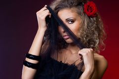 Woman with red rose Royalty Free Stock Photo