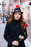 Woman with red rose Royalty Free Stock Image