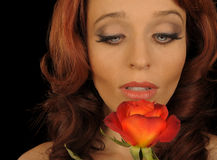 Woman With red Rose. Beautiful Image of a Woman With a red Rose Royalty Free Stock Images