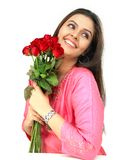 Woman with red rose bouquet Stock Photos