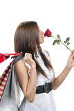Woman with red rose flower Royalty Free Stock Photography
