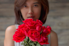 woman and red rose Royalty Free Stock Image