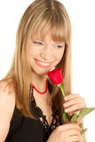 Woman with red rose isolated on white Stock Image