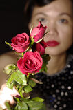 Woman and red roses. Red roses in women hand Royalty Free Stock Photos