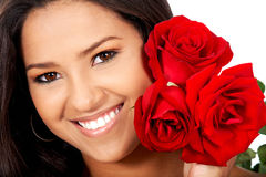 Woman with red roses Royalty Free Stock Photography